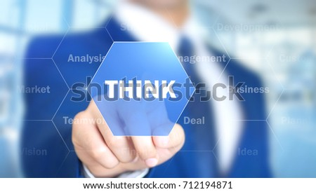 Think, Businessman working on holographic interface, Motion Graphics