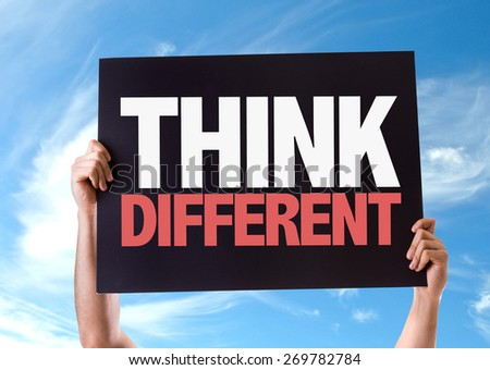 Think Different card with sky background