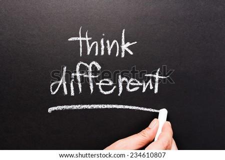 Think Different, handwriting on chalkboard