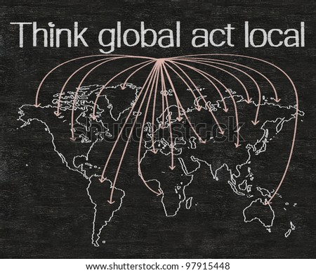 think global act local marketing business concept written on blackboard background with world map