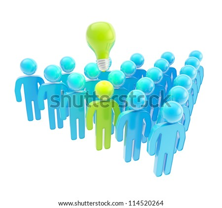 Think green, ecology oriented company metaphor as a crowd of symbolic human figures isolated on white - stock photo