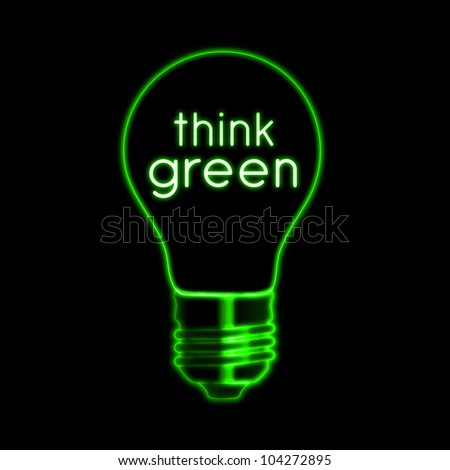 Think green illustration of bulb neon bulb and text