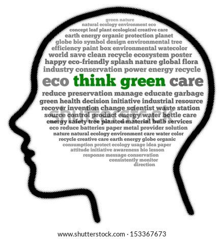 Think green in head shape words cloud