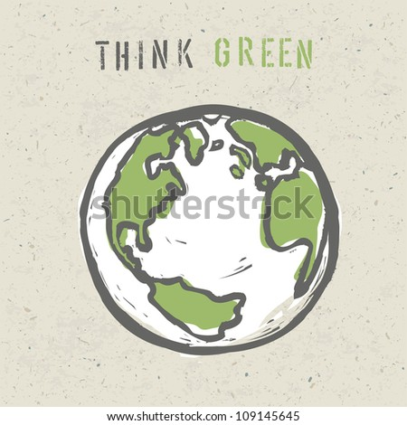 Think green poster design template. Raster version, vector file available in portfolio