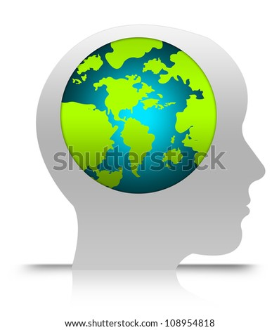 Think Green, Stop Global Warming or Save The Earth Concept  Isolated on White Background