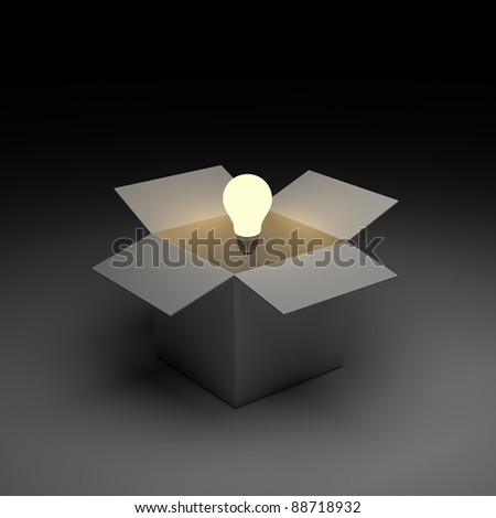Think out of the box or thinking outside the box concept, Glowing light bulb float over opened cardboard box