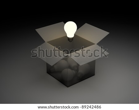 Think out of the box or thinking outside the box concept, one glowing light bulb float over the unlit incandescent bulbs in opened cardboard box - stock photo