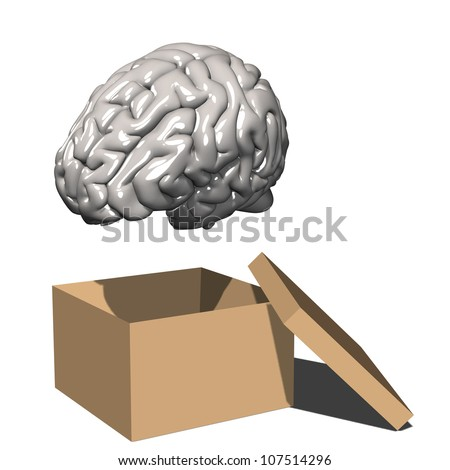 Think Outside the Box: A gray matter brain hovering over an open box.  Isolated on white.