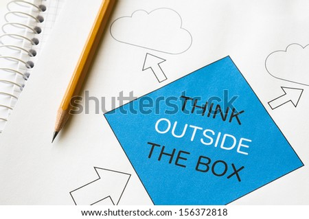 Think outside the box concept graph printed on white paper