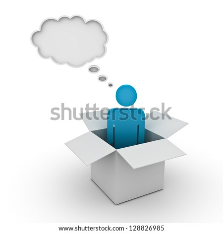 Think outside the box concept, man standing in the box with thought bubble above his head over white background