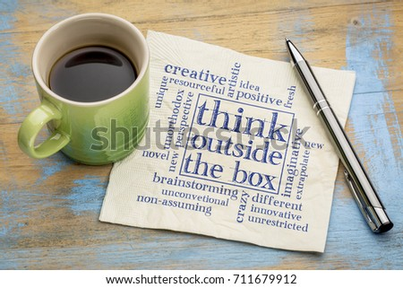 Think outside the box concept - word cloud on a napkin with a cup of coffee #711679912