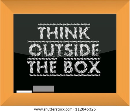 think outside the box title blackboard illustration