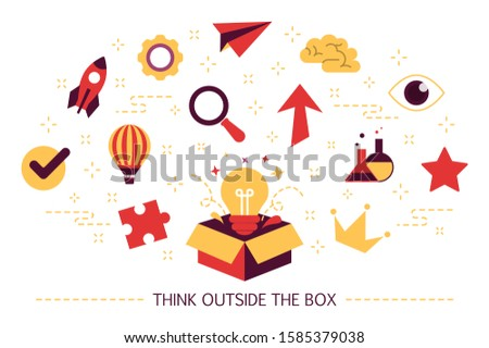 Think outside the box web banner. Idea of creative thinking and innovation. Brainstorm and creativity. Set of colorful icons. Isolated flat  illustration
