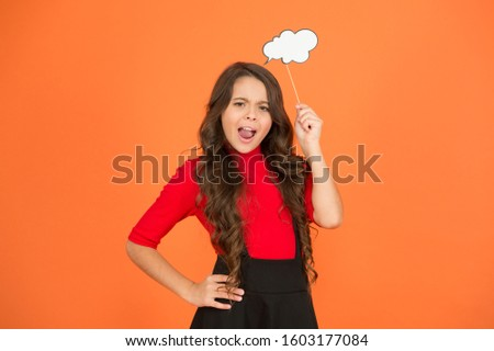 think positive. her thoughts. never know what she is thinking about. smart child with party cloud. pretty thoughtful kid long curly hair. have your opinion. whats on your mind. think of fashion.