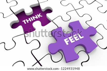 Think vs Feel Logic Emotion Puzzle 3d Illustration