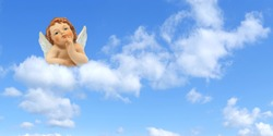 Thinker angel above the clouds on a blue sky background: greeting card for christmas, baptism or communion.