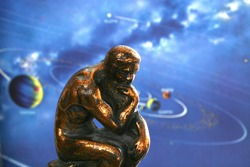Thinker contemplating the universe