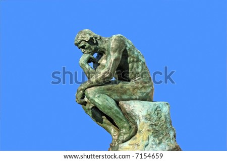 Thinker copy in Saint Paul (Southern France) isolated over blue