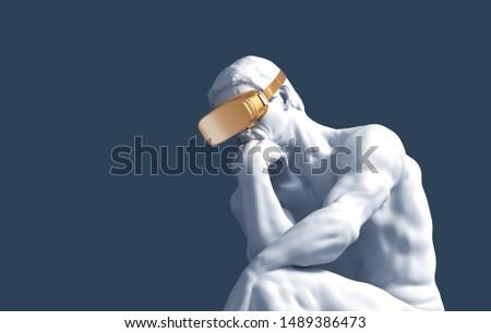 Thinker With Golden VR Glasses Over Blue Background. 3D Illustration. ストックフォト ©