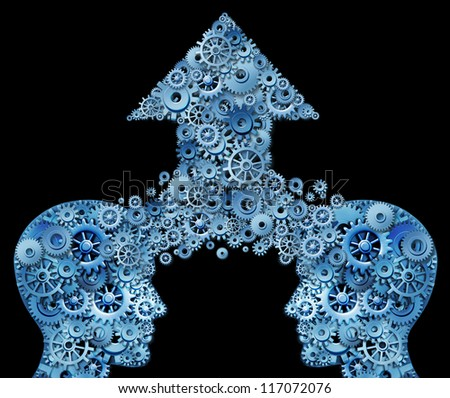 Thinking as a team for success in a corporate partnership and business teamwork growth idea with two human head shapes merging together in an arrow of gears and cogs as a financial symbol on black.