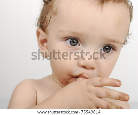 thinking baby with finger in mouth