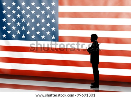Thinking business man silhouette on american flag background