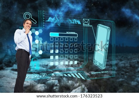 Thinking businessman touching chin against serene landscape with city on the horizon at night