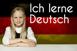 Thinking child girl student against the Germany flag background. Deutsch concept with inscription learn Deutsch on Deutsch language