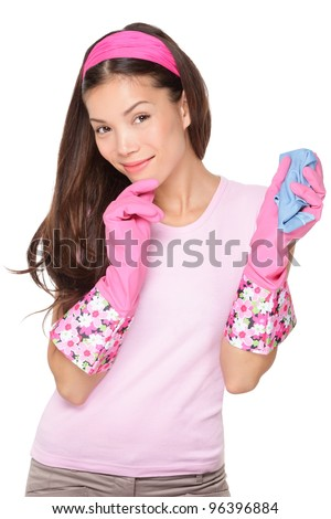 Thinking cleaning woman looking at camera smiling pensive. Beautiful cute pink cleaning girl waring cleaning rubber gloves isolated on white background. Multiracial Asian / Caucasian cleaning lady.