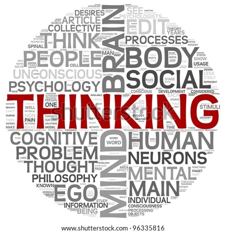 Thinking concept in word tag cloud on white background