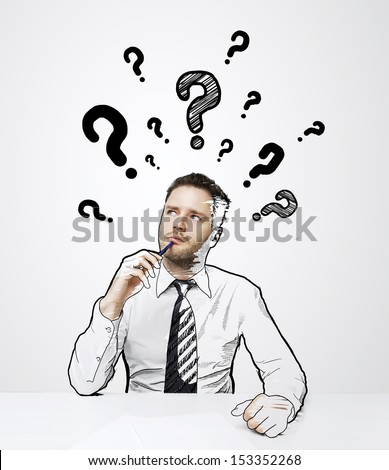 thinking drawing businessman with question mark over head
