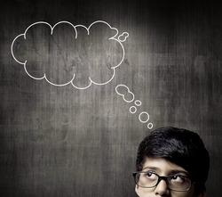 Thinking Half Head Of Genius Little Boy Wearing Glasses, Thinking Before A Chalkboard