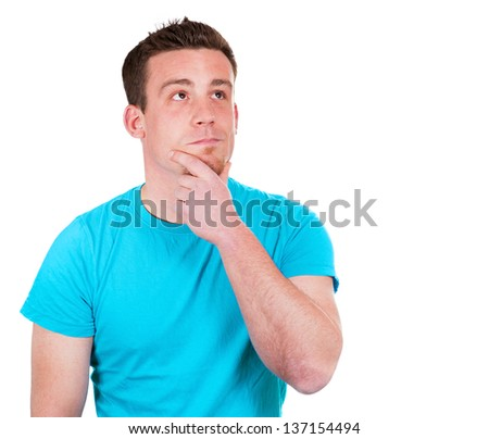 Thinking man in the blue shirt