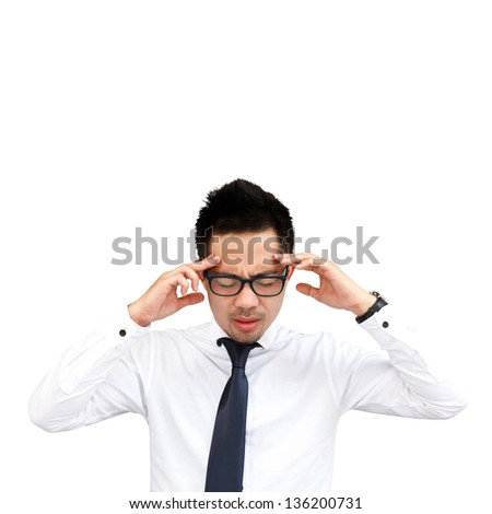 Thinking man isolated on white background - stock photo