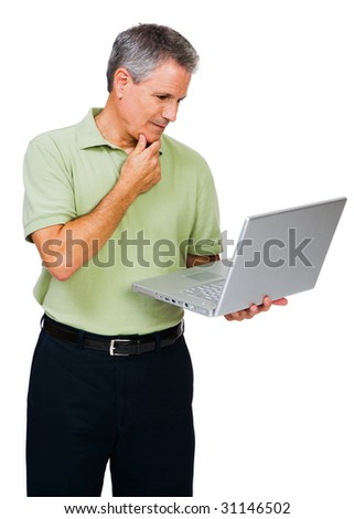 Thinking man using a laptop isolated over white