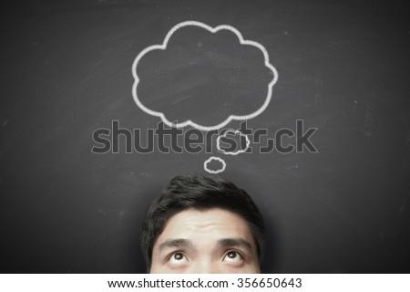 Thinking man with thinking bubble on blackboard background. #356650643