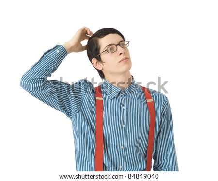 Thinking scratching head nerd businessman manager with blue shirt and red braces from the back on white