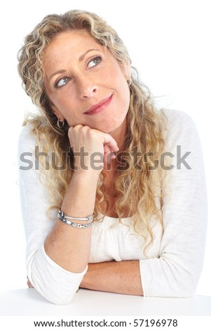 Thinking smiling woman. Isolated over white background