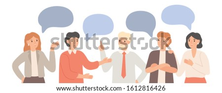 Thinking team. Teamwork communication, office workers communicate and discuss project. Group chat, group talk together. Brainstorming talking business meeting isolated  illustration