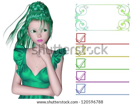 Thinking woman, and check list - stock photo