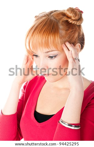 thinking woman isolated on a white background