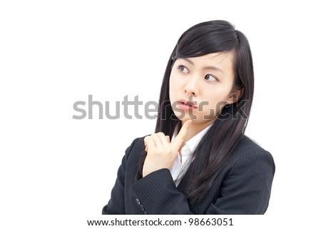 thinking woman , isolated on white background