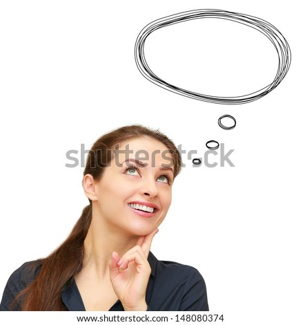 Thinking woman with bubble speech above head isolated on white background
