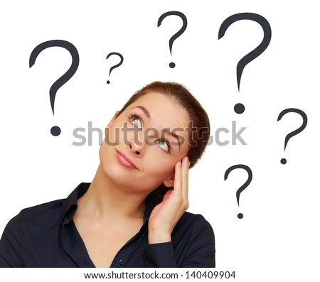 Thinking woman with question marks above the head isolated on white background