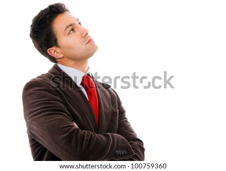 thinking young business man on white background