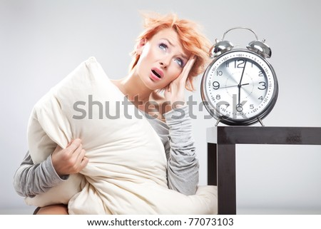 Thinking young girl and clock