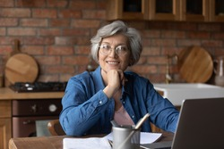 Third age remote student. Dreamy aged lady study from home use laptop look aside smile imagine new opportunities after learning modern tech. Latin female retiree enjoy getting distant education online
