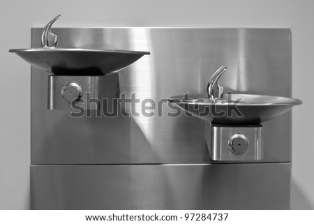 Thirsty? Stainless Steel drinking fountains mounted at different heights are a welcome sight for those who thirst.