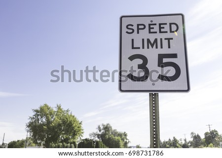 Thirty five mile per hour speed limit sign #698731786