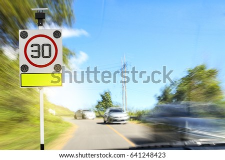 Thirty mile per hour street sign and Solar cell flashing light LED  #641248423